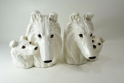 Pair of MCM White Ceramic Collies& Puppies Bookends with Sand Plugs  NAPCO Japan