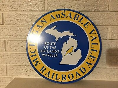 """Michigan AuSable Valley Railroad Logo Heavy Steel Sign  14"""" Round New"""