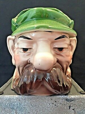 Extremely Rare  Antique Majolica Tobacco Jar Of Man With Outstanding Mustache