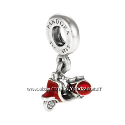 RED SCOOTER TRAVEL NEW! AUTHENTIC PANDORA Sterling Silver CHARM 791140EN42