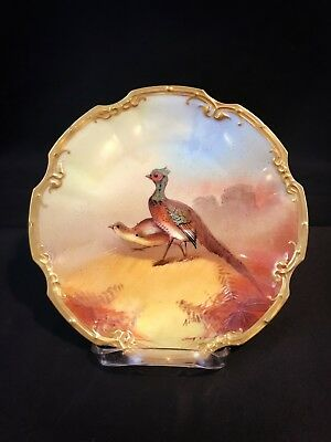 """Antique Limoges France Painted Game Bird Plate 10"""" Charger 2 Pheasants"""