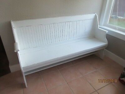 "Old Church Pew, painted white, 68"" wide"