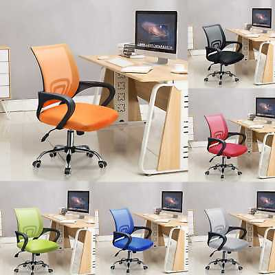 Comfortable Computer Desk Office Chair Chrome Legs Gas Lift Swivel Adjustable UK