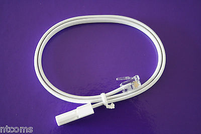 Landline Telephone cable. White  0.2 - 5M , BT Plug to RJ11 2 Middle Pins (033)