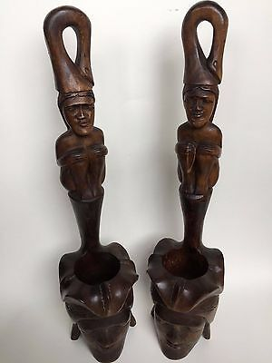 Pair Of Old Vintage Hand Carved Unusual Bowls African Male & Female Figurines