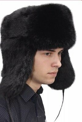6e08d366bf9 Rabbit Full Fur Russian Ushanka Hat Real Fur Hat Chapka Black