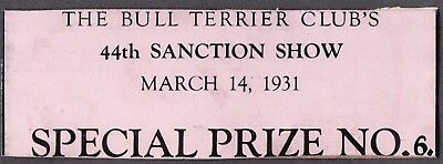Vintage Litho 1931 Special Prize Bull Terrier Dog Club Show Card London England