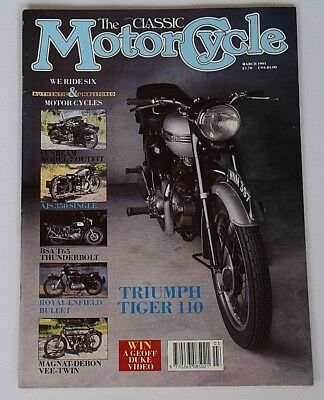 """The Classic Motorcycle March 1991 TRIUMPH """"Tiger 110"""" ,BSA""""Thunderbolt"""",AJS 350"""