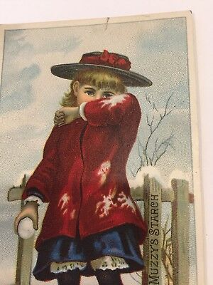 Vintage Trade Card Girl With Snowball