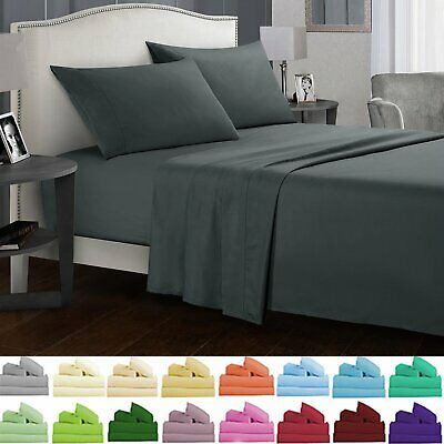 1000TC Egyptian Cotton Queen King Double Bed Sheet Set 4 pcs Flat Fitted Pillow