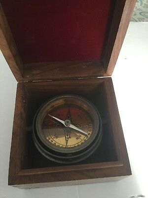 Vintage Floating Maritime Compass In  A Cherry Wood Box