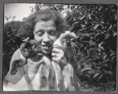 Vintage Photograph 1920's-1930's Woman Siamese Cats Kittens London England Photo