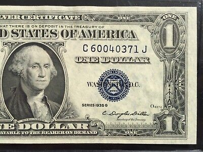 1935 G Silver Certificate $1 DOLLAR BILL ,Blue Seal (BLOCK C/J),UNCIRCULATED
