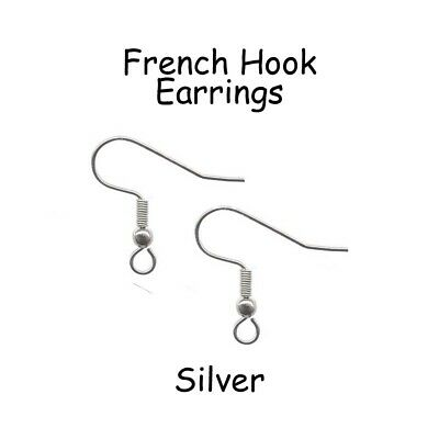 100 Silver French Hook Earrings, Hypoallergenic Surgical Stainless Steel