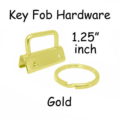 "10 Key Fob Hardware w/ Key Rings Sets - 1.25"" (32 mm) Gold + Instruc."