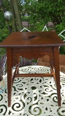 Antique Arts & Crafts Carved Wooden Side Table Plant Stand Stool Oak Beech