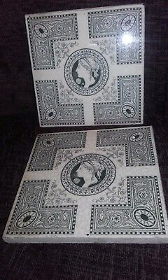 Pair of 19th Century JOSIAH WEDGWOOD & SONS ETRURIA Aesthetic Classical Tiles