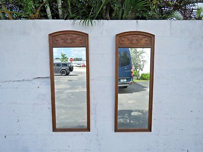 French Hand Carved Tall Pair of Wall Bathroom Vanity Mirrors by Thomasville 9198
