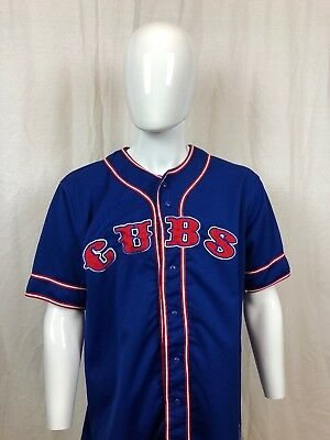 191a867d Chicago Cubs True Fan Sz L Baseball Jersey Genuine MLB Blue Red Button Up