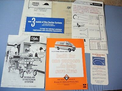 Lot of 1970's Ambulance & Medical Supplies Sales Catalogs Stryker Road Rescue ++