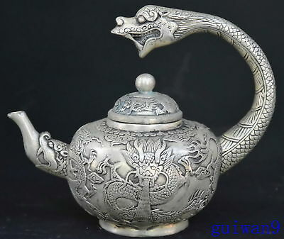 Collectable Ancient Chinese Miao Silver Carve Dragon Taoist Use Art Old Teapot