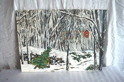 Canadian Artist Nancy Day Winter Scene Original Oil Painting on Board Signed