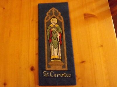 """Vintage Saint Carantoc Religious Completed Wool Tapestry   Size 4.5"""" x 11.75"""""""