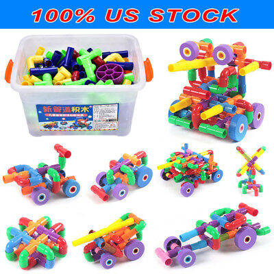 156Pcs New Plastic Building Blocks Puzzle Bricks Baby Kids Educational Toy Gifts