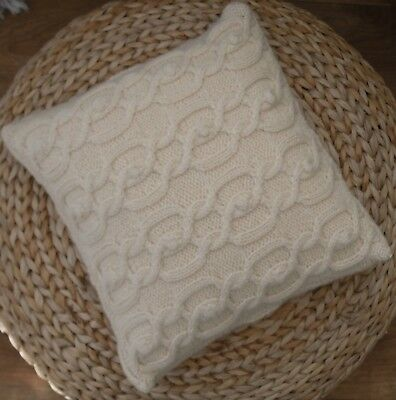 Knitting Kit Cream Wool Cable Cushion cover,100% yarn, buttons and instructions