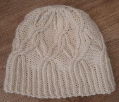 Ladies Cable Beanie Hat Knitting Kit Cream 100% Wool yarn, instructions