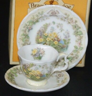 Royal Doulton ~ Brambly Hedge Miniature Spring Tea Cup Saucer & Plate Boxed Trio
