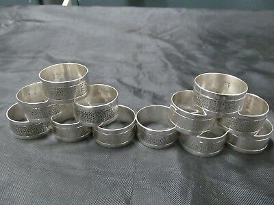 Set of 12 Sterling Silver Round Napkin Ring Holders