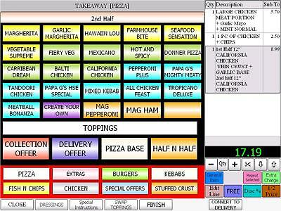 EPOS Pos till system ivision takeaway restaurant Pizza delivery software