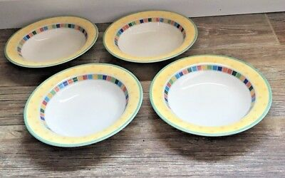 (4) Villeroy & Boch Twist Alea Limone Yellow Cereal Bowls Germany 1748