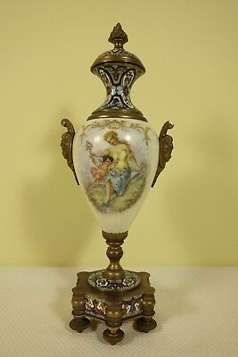 19th.c French Porcelain Bronze & Champleve Enamel Sevres Urn Artist Signed