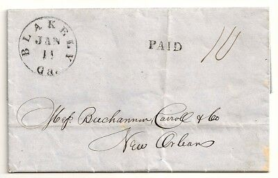 1850's OLD BACON FOR THE NEGROES Stampless BLAKELY GA Folded Letter NEW ORLEANS