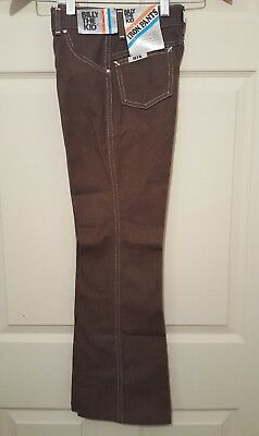 Original Vintage Billy the Kid Boys Iron Pants Brown Darcon Polyester 12 NWT