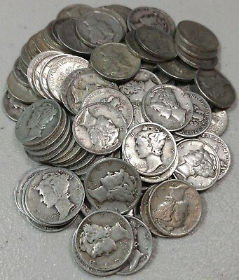 Lot of 100 U.S. Mercury Dime Silver Coins - $10.00 Face 90% - NICE QUALITY