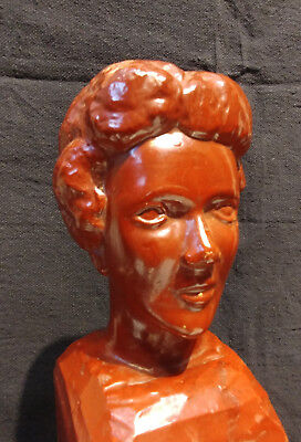 Old Hand Carved Folk Art Bust Of A Woman