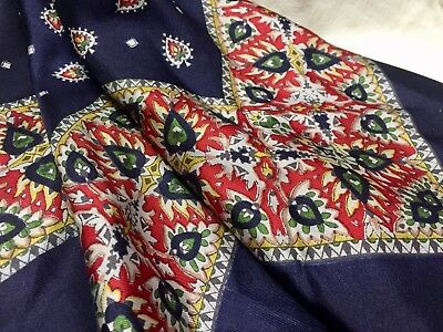 Vintage Silk Liberty Paisley Scarf.  Blue And Red Print.