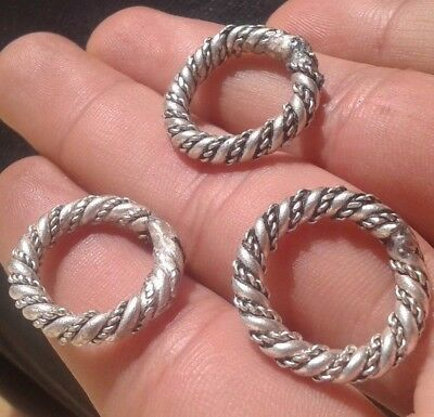 LOT OF 3 VIKING SILVER RINGS museum quality artifact WITH WELDING SMALL SIZE 8-9