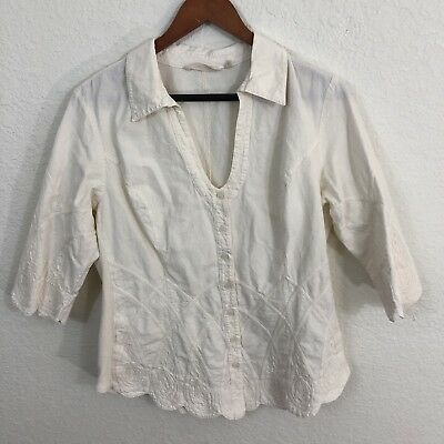 Soft Surroundings Blouse Sz M Beige Cotton Embroidered 3 4 Sleeve