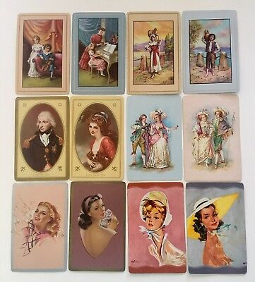 12 Vintage Swap Playing Cards 6 Classic Pairs Lady Hamilton Lord Children Ladies