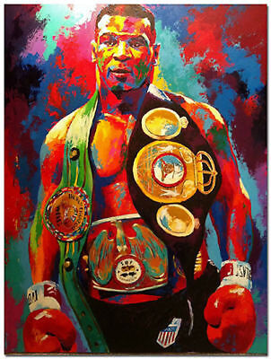 Mike Tyson Boxer Boxing Hand Painted Abstract Canvas Oil Painting Wall Art 32in