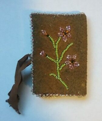 Old Vintage Sewing Needle Book Case Beaded Hand Stitched L@@K!