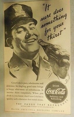 """Coca-Cola ad: """"Does Something For Your Thirst"""" 1930's ~ 6.5 x 9 inches 1930's"""