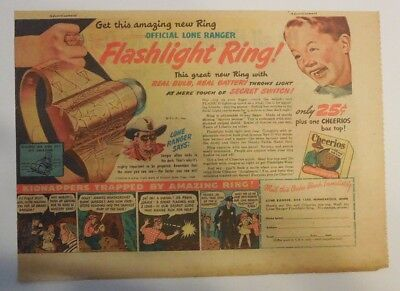 Cheerios Cereal: Lone Ranger Flashlight Ring Premium 1940's 7  x 10 inches