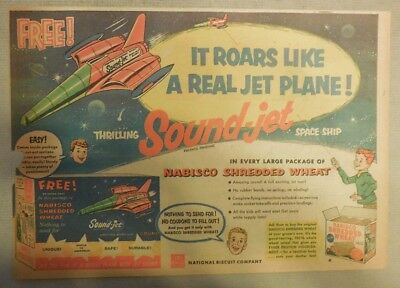 Nabisco Cereal Ad: Thrilling Sound Jet Spaceship ! Premium Shredded Wheat 1950's