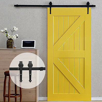 6.6 FT Carbon Steel Sliding Barn Wood Door Closet Hardware Antique Country Style