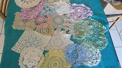 20 Vintage CROCHET DOILIES DOILEY  MULTI COLORS dream catcher table craft A